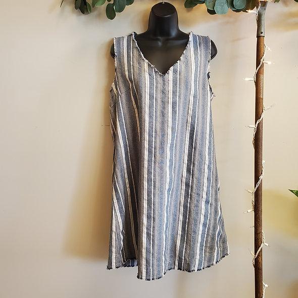 Umgee Sleeveless Striped Denim Mini Dress