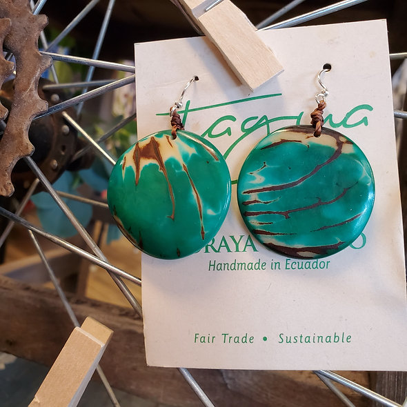 Tagua Emerald Panecillo Earrings