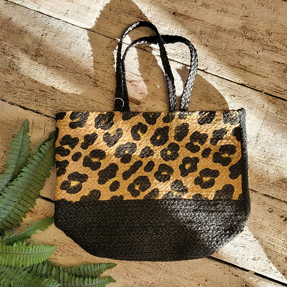 Large Cheetah Print Straw Tote