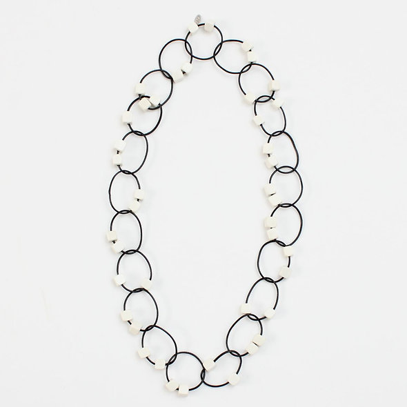 Ivory Beaded Loop Gemma Necklace