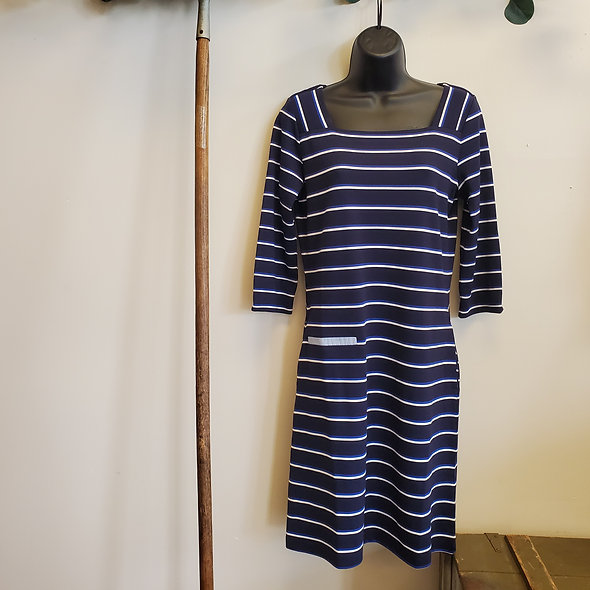 Tribal Blue and White Striped Dress