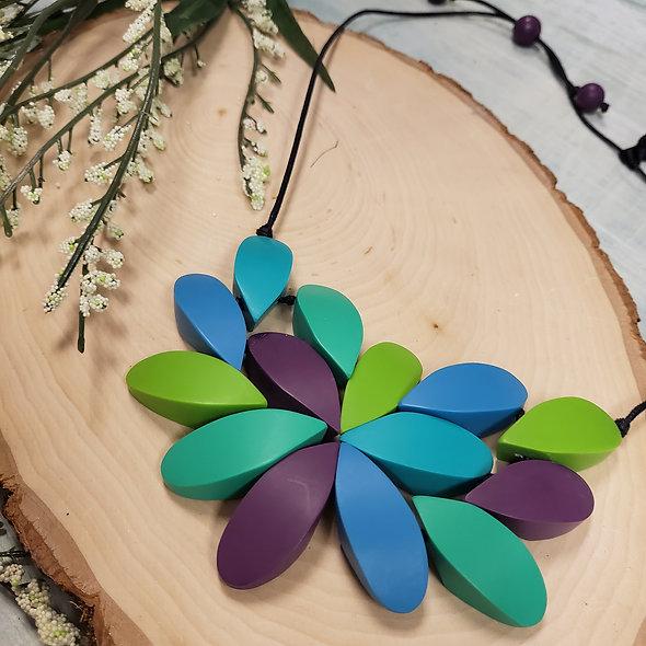 Ruby Olive Blue Tones Bib Necklace