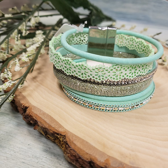Pale Green Lace and Rhinestone Magnetic Bracelet