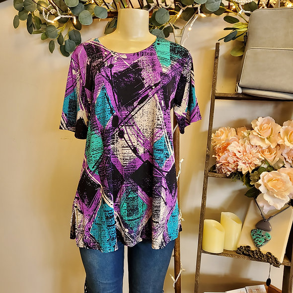 Abstract Checkered Purple Flowy Tee