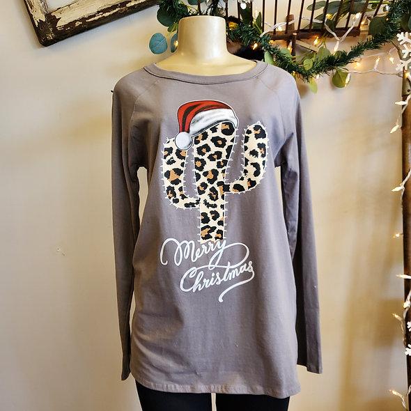 Grey Leopard Cactus Christmas Top