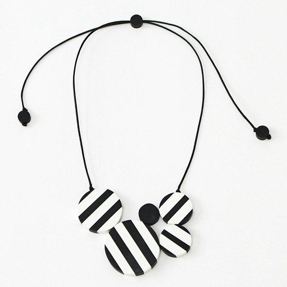 Black and White Striped Clara Pendant Necklace