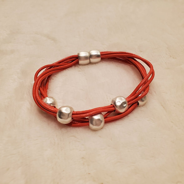 Petite Orange Beaded Magnetic Bracelet