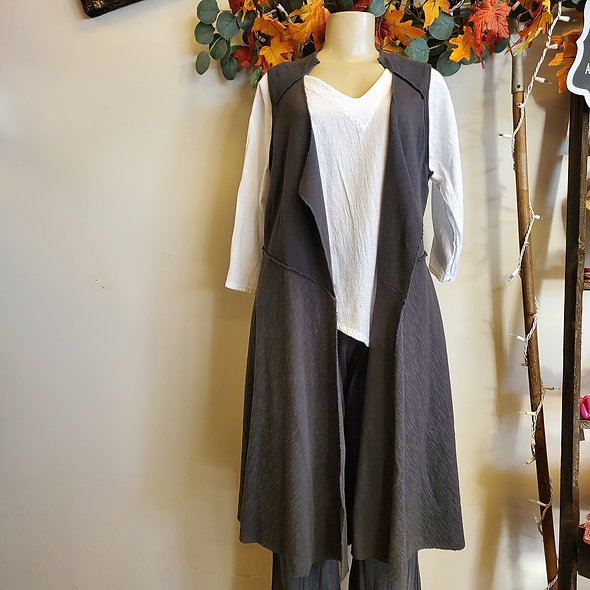 Prairie Cotton Long Grey Vest