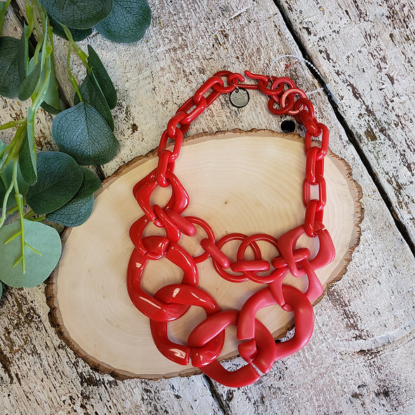 Alisha D. Red Resin Chain Link Necklace