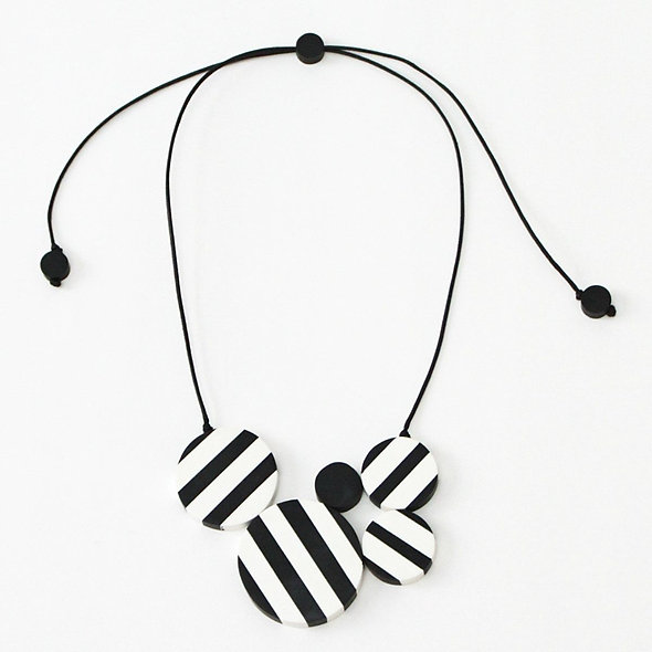 Black and White Striped Clara Pendant Necklace