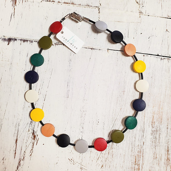 Multi-Colored Wooden Beaded Necklace