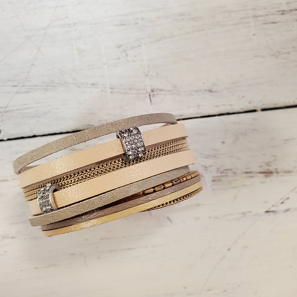 Tan and Taupe Magnetic Bracelet