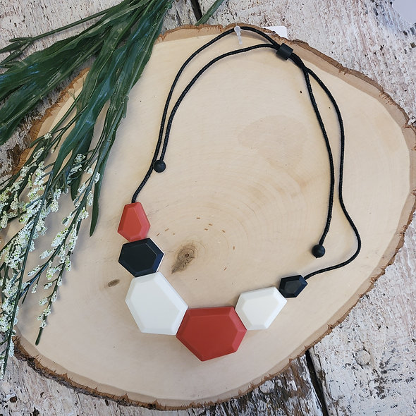 Black, Red and White Abstract Bib Necklace