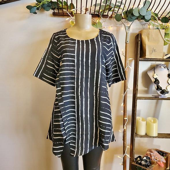 Shana Black and White Striped Asymmetric Tunic Top