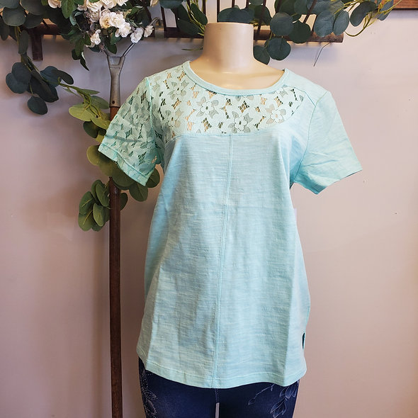 Tribal Lace Embroidered Mint Tee