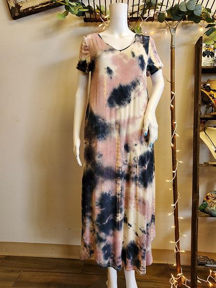 Jewel Tone Tie Dye Maxi Dress