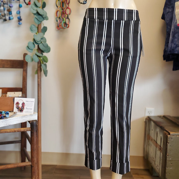 Tribal Black and White Striped Pants