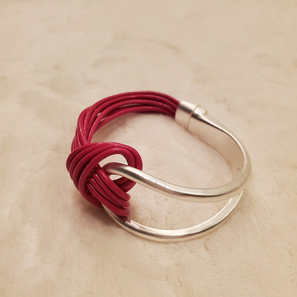 Magenta Cord and Metal Magnetic Bracelet