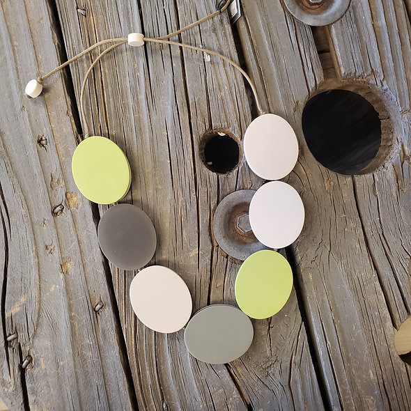 Sylca Reversible Pale Green and Grey Necklace