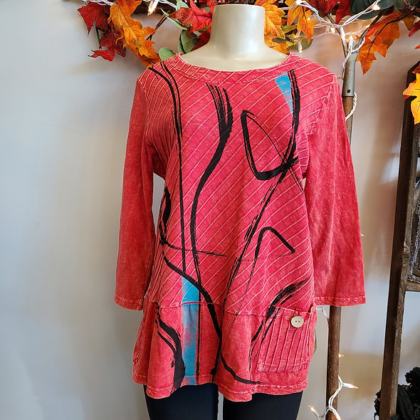 Jess N Jane Red & Black Pocketed Tunic