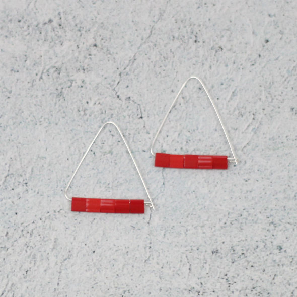 Red Triangle Earring