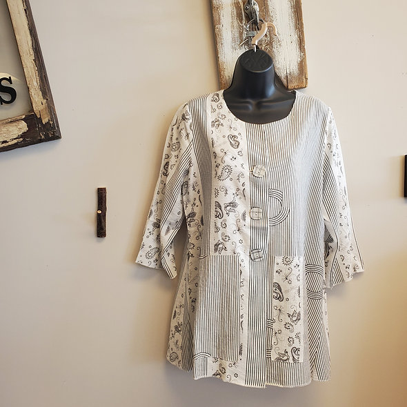 Shana White Pinstripe And Paisley Print Tunic