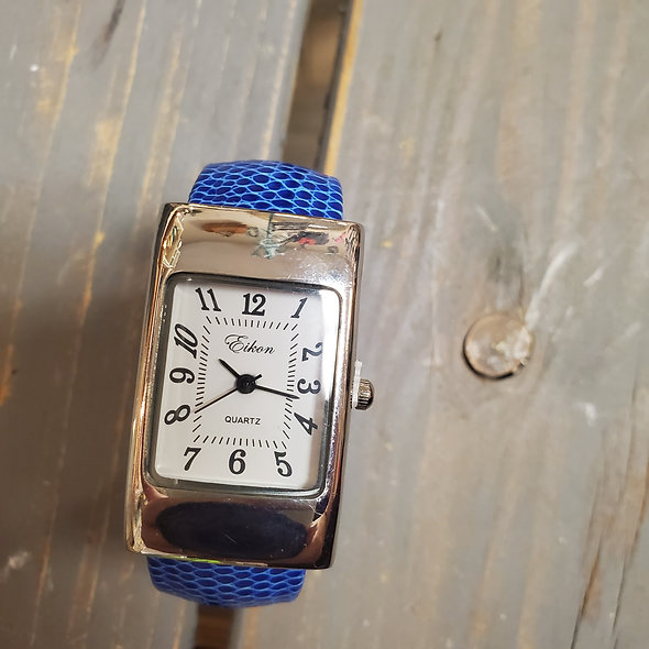 Faux Snakeskin Leather Rectangular Hinged Watch