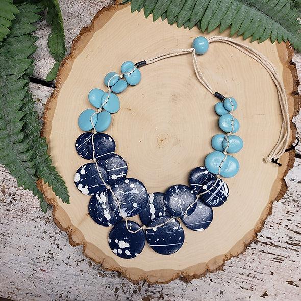 Alisha D. Splattered Blue Wooden Disc Necklace