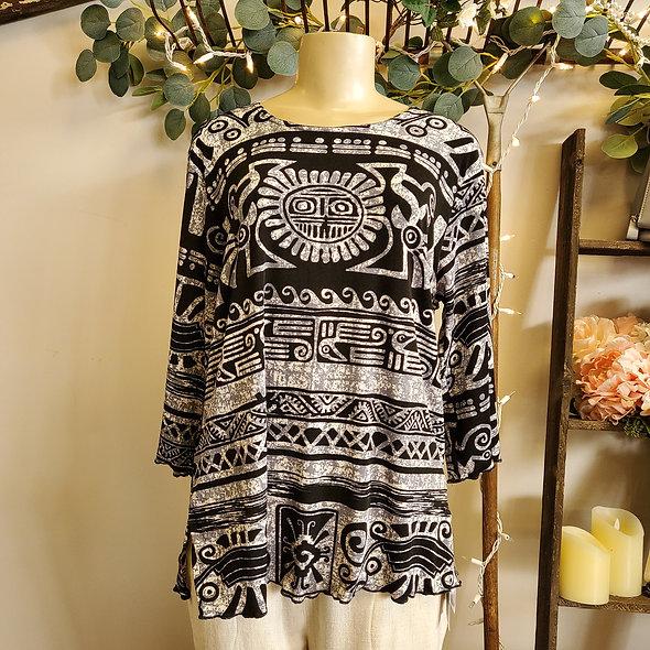 Grey Aztec 3/4 Sleeve Top