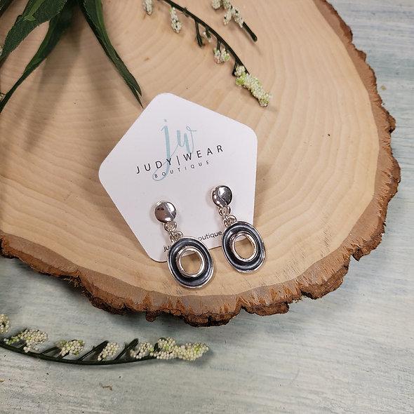 Steel Blue Dainty Hammered Oval Drop Earrings