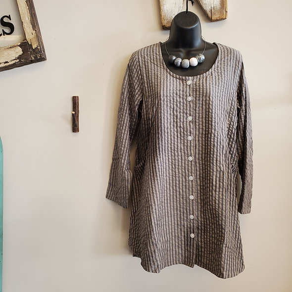 Tulip Seersucker Grey Stripe Tunic