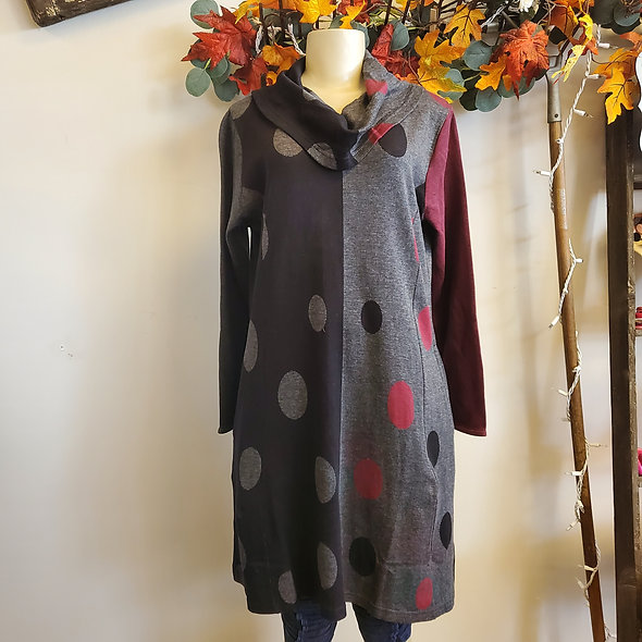 Parsley & Sage Burgundy and Black Polka Dot Cowl Dress