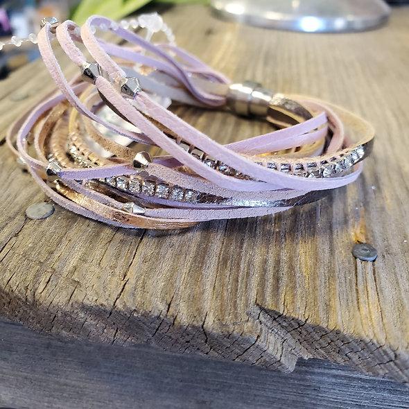 Baby Pink Suede Magnetic Bracelet