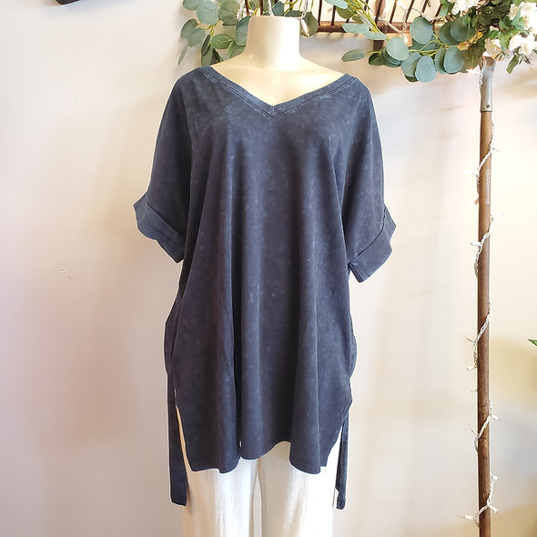 Plus Size Acid Wash V-Neck Tunic
