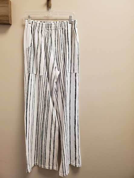 Prairie Cotton Wide Leg Striped Pants