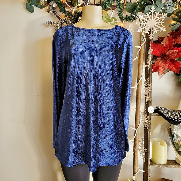Royal Blue Velvet Tunic Top