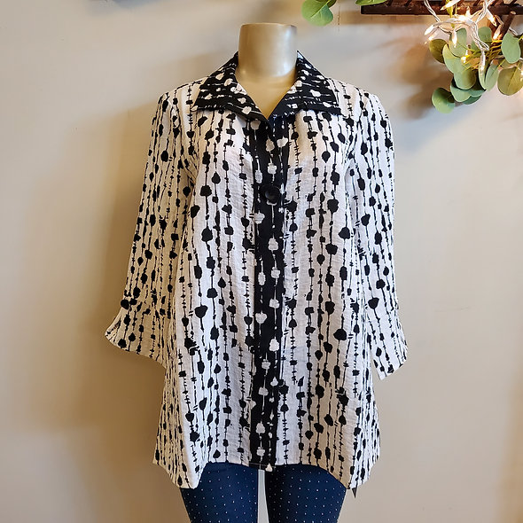 Habitat Black and White Spotted Button Down Tunic