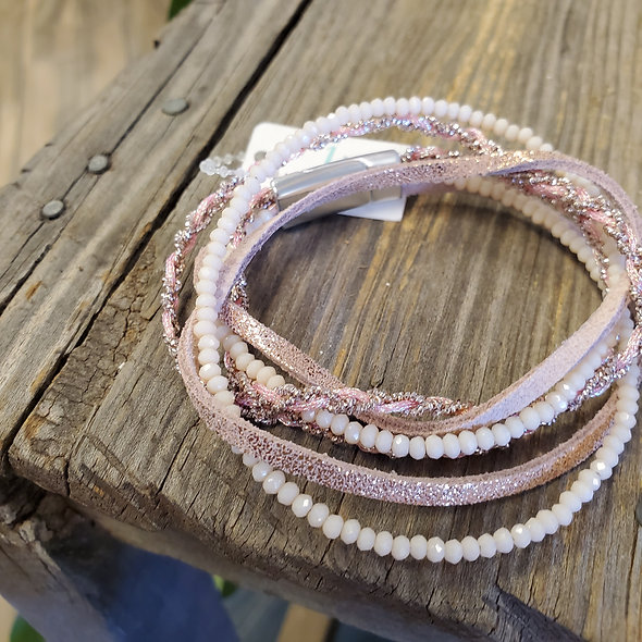 Blush Beaded Double Wrap Magnetic Bracelet