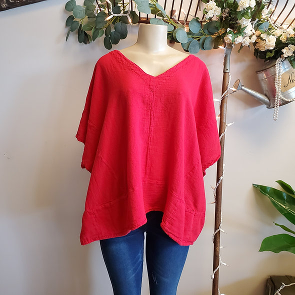 Oh My Gauze Kat Top in Crimson [OS]