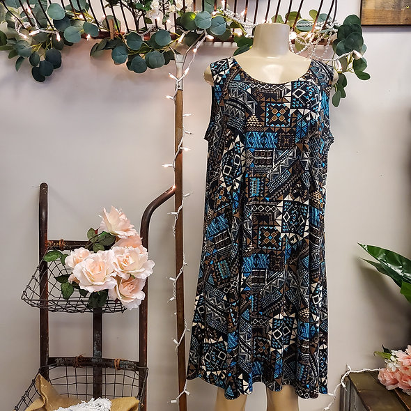Plus Size Sleeveless Aztec Dress