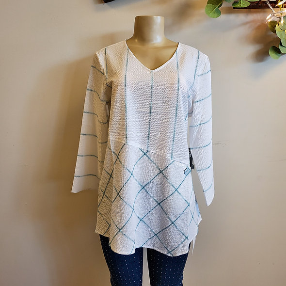Habitat White and Turquoise Striped V-Neck Top