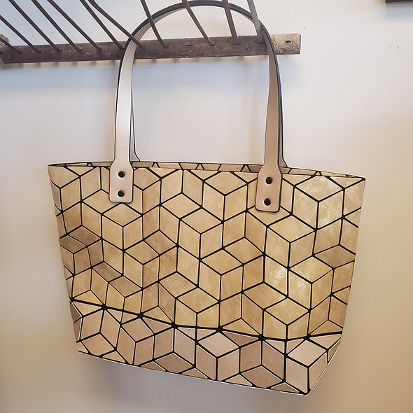 Patrizia Luca Geometric Metallic Tan Tote