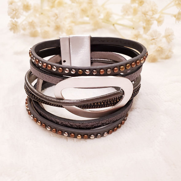 Wide Oval Studded Magnetic Bracelet