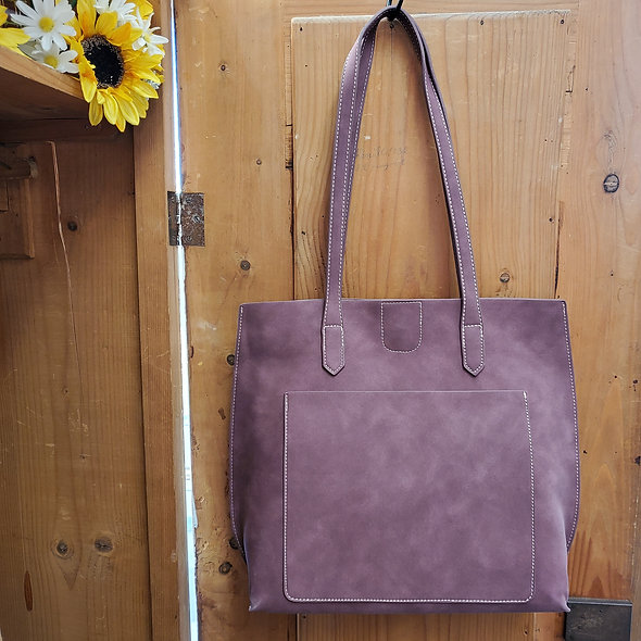 Faux Leather Plum Tote