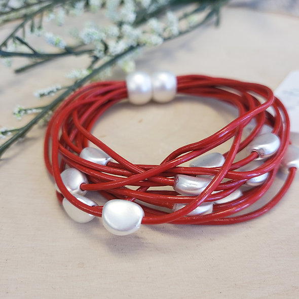 Red Beaded Magnetic Bracelet