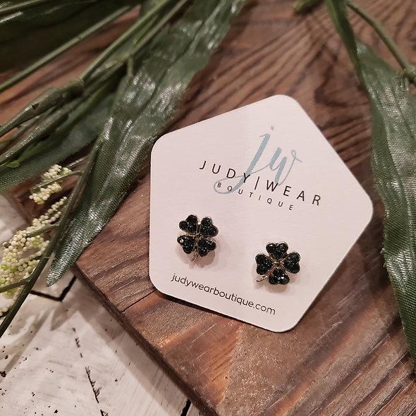 Mini Sparkle Four Leaf Clover Stud Earrings