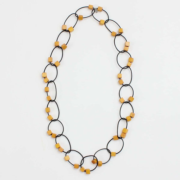 Mustard Beaded Loop Gemma Necklace