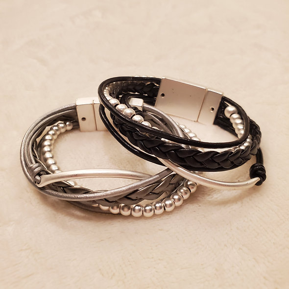 Braids and Beads Magnetic Bracelet