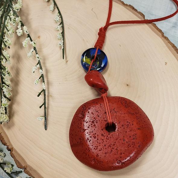 Treska Red Stone Long Pendant Necklace