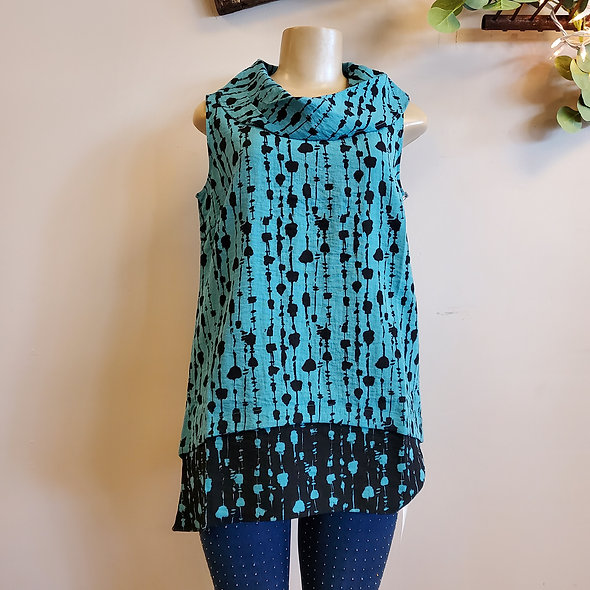 Habitat Spotted Turquoise Cowl Neck Tank Top
